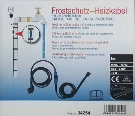 Kabel grzewczy przewód grzejny 1m z termostatem NIEBIESKI / HORIZONT